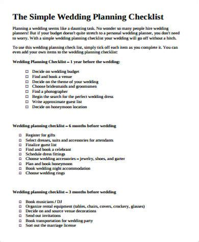 Wedding Planner Checklist Nz by Wedding Planning Checklist Sle In Pdf 8 Exles In Pdf