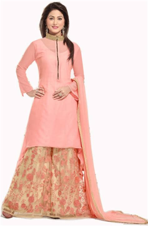 Dress Design With Plazo | buy pink embroidered georgette plazo fits online