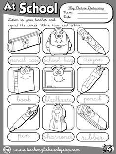 school objects matching b w worksheets kola pinterest school objects worksheet 1 b w version english