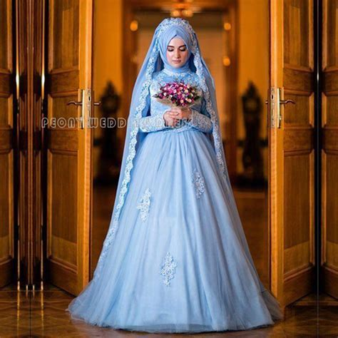 Find a Luxury Blue Muslim Wedding Dress Long Sleeve Beaded