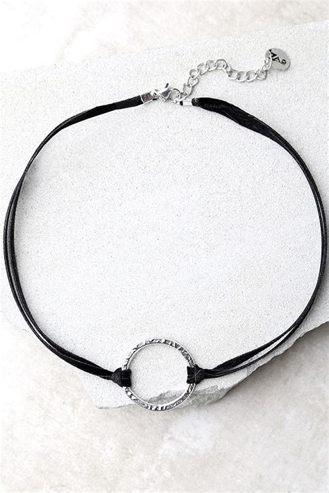 Silver O Ring Choker cool black and silver choker vegan suede choker o ring choker 14 00