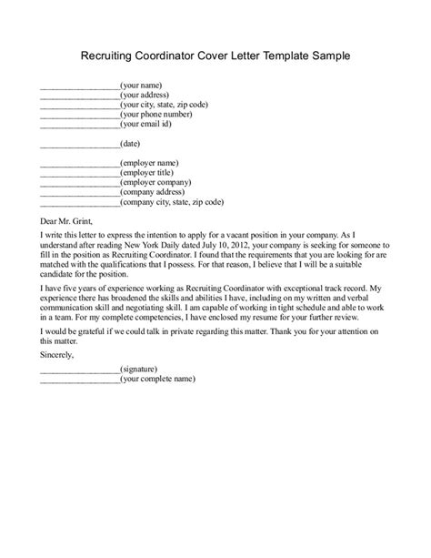 recruiting cover letter recruiter cover letter project scope template