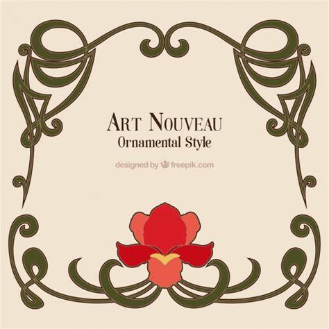 arte e cornici nouveau frame with a flower vector free