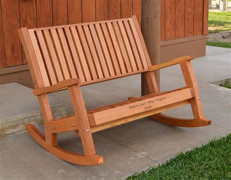 wooden rocking bench redwood rocking bench handcrafted wooden rocking bench