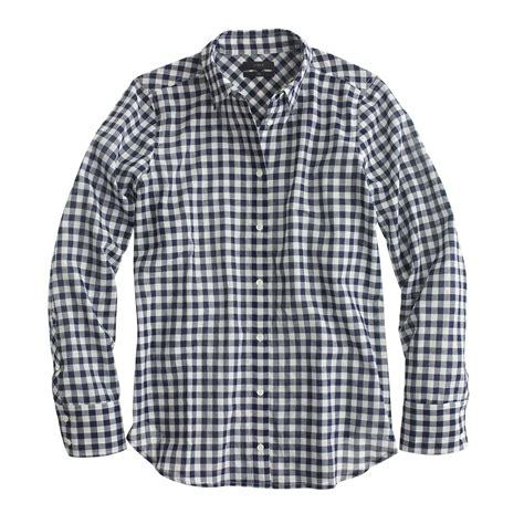 Gingham Shirt j crew blue boy shirt in crinkle gingham lyst