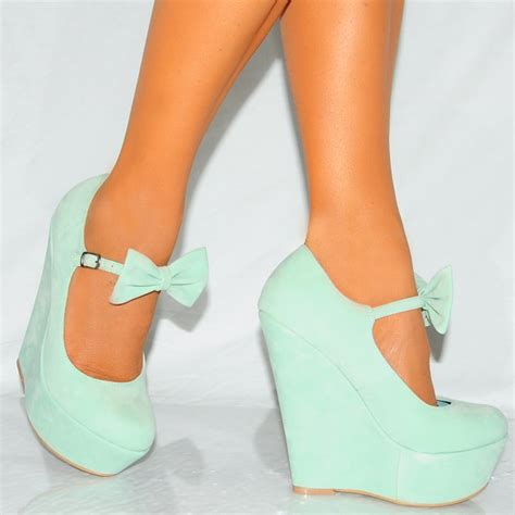 mint green high heels mint green faux suede bow wedge platform high heels