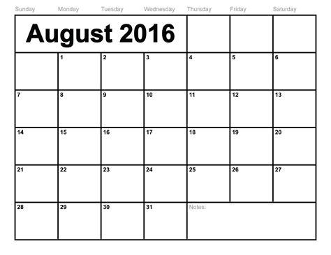 August 2016 Calendar   monthly calendar printable