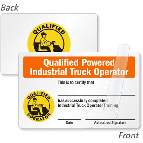 Forklift Operator Card Template by Forklift Certification Cards Forklift Driver Wallet Cards