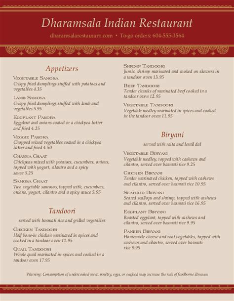 indian restaurant cafe menu indian menus