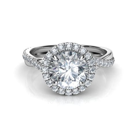 pave diamonds pave halo twisted shank engagement ring