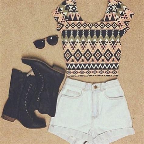 pattern shirts tumblr shirt tribal pattern crop tops cute aztec shorts