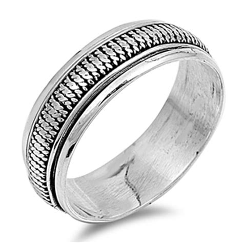 solid plain mens band  sterling silver ring