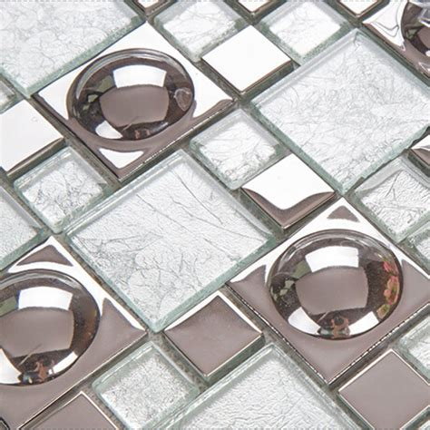 silver mosaic tiles bathroom silver plated porcelain mosaic tile white crystal glass