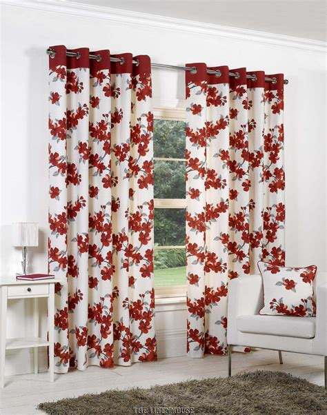 poppy curtains bargain cotton red silver eyelet ring top poppy curtains