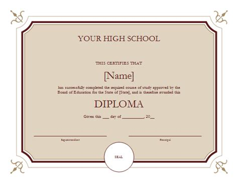 high school diploma template aashe one stop for printable