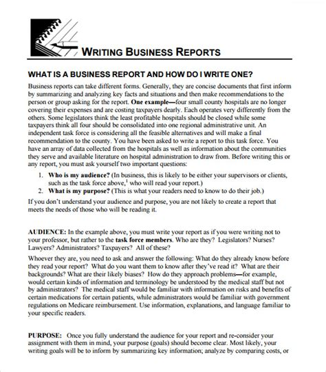 writing business reports template 8 business report templates free sles exles