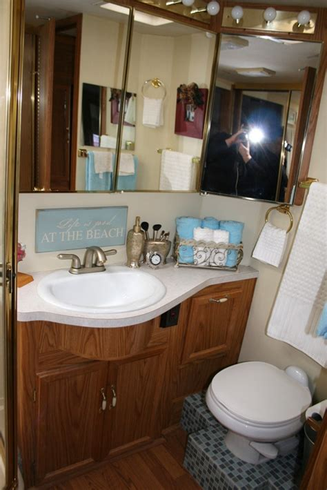 rv bathroom the tile on the floor is a