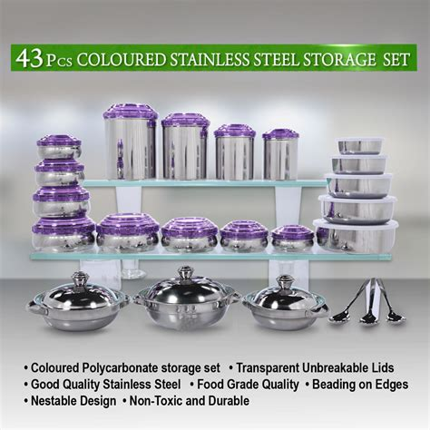 Orange Kitchen Canisters by Buy 43 Pcs Coloured Stainless Steel Storage Set Online At