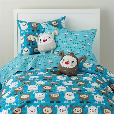 land of nod bedding the land of nod boys bedding yeti themed bedding set in