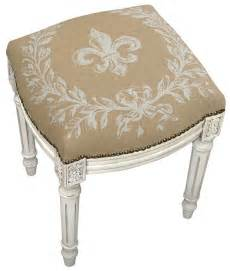 Vanity Chair Cushion Stools Fleur De Lis Upholstered Stool Vanity Seat