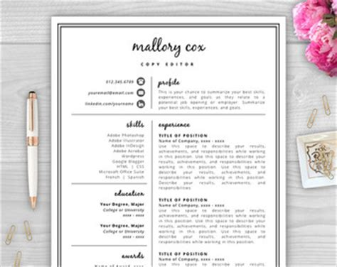 Resume Template Word Etsy Free Resume Template Etsy