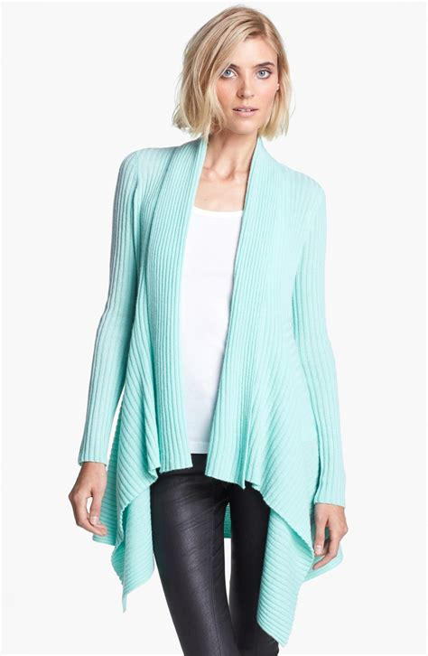 Autumn Cashmere Draped Rib Knit Cashmere Cardigan In Blue