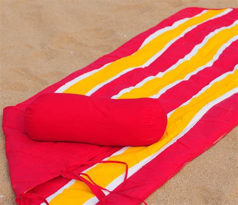 towel and roll up mat neck roll pillow