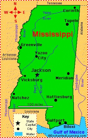 mississippi facts map and state symbols