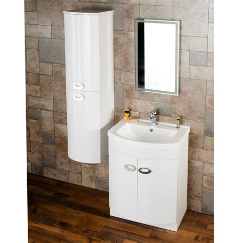 Bathroom Vanity With Side Cabinet Modern Curved White Gloss Vanity Unit With Side Cabinet