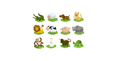 funny animals set vector  transparent png