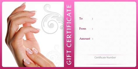 nail salon gift certificate template nail gift certificate template printable birthday certificates