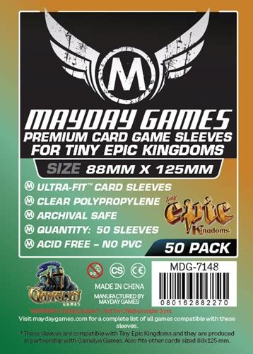 Card Sleeves 88x125 Mm Board Tiny Epic Kingdoms Mayday 50 x clear card sleeves 88mm x 125mm mayday premium