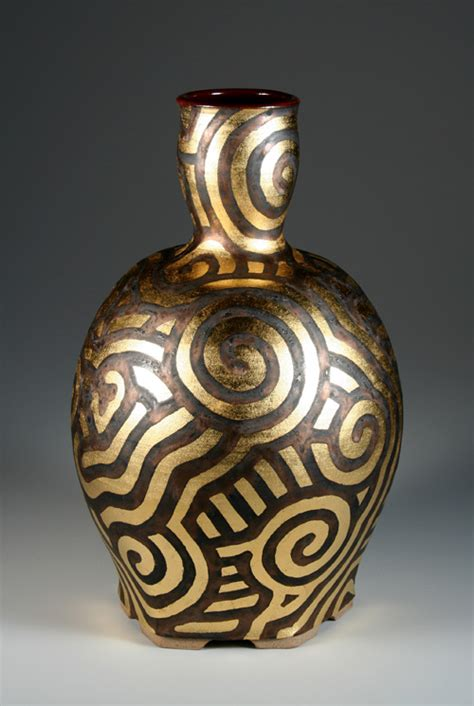 vase patterns steve irvine potter gold leaf