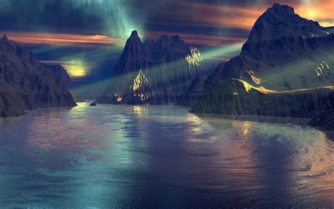 wallpaper 3d rain blue rain 3d drawed landscapes violet 1440x900