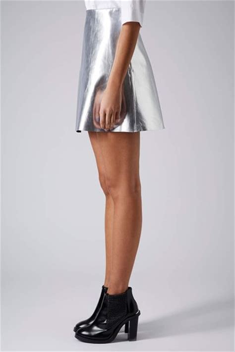 topshop silver leather skirt in silver lyst