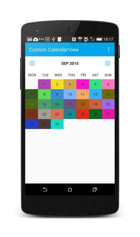 view on android create a customcalendarview library in android dzone mobile