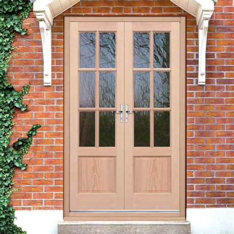 External Hardwood Patio Doors Exterior Hemlock Gtp 2 Panel Door Pair Fit Your Own Glass