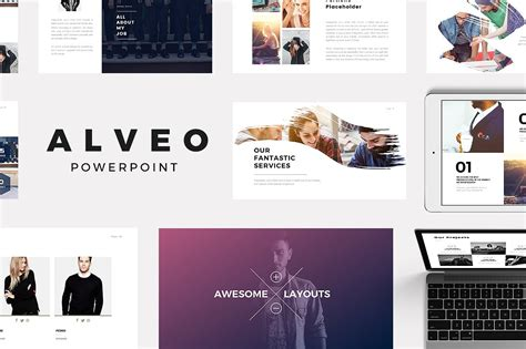 Alveo Minimal Powerpoint Template Presentation Templates Creative Market Aesthetic Website Template