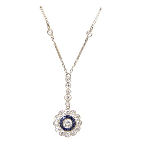 Miami Home And Decor Magazine Fine Art Deco Sapphire Diamond Platinum Drop Pendant