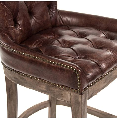 tufted leather bar stool ridley rustic lodge tufted brown leather bar stool kathy