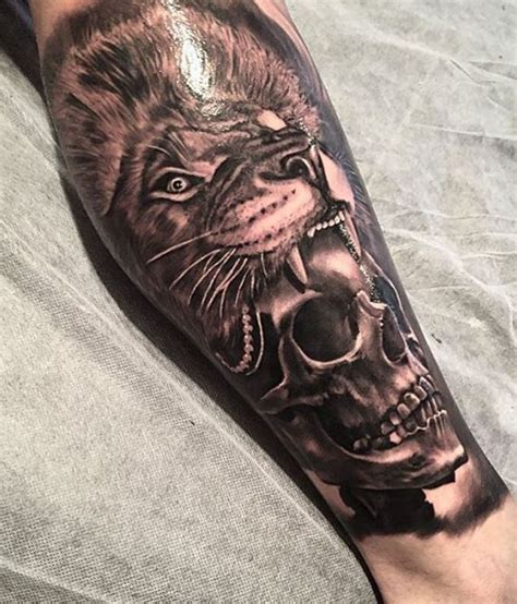 lion head skull tattoo inkstylemag