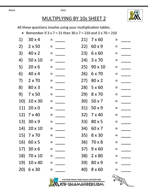 math sheets grade 4 multiplying by 10s 2 math stuff
