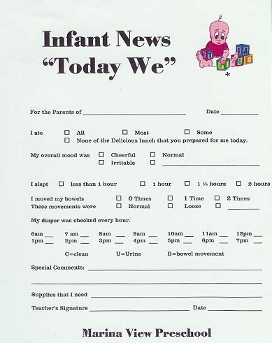 Forms on pinterest infant daily report day care and daycares