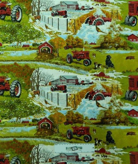 Patchwork Farm - patchwork quilting fabric farmall farm tractor sewing