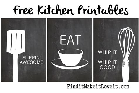 Free Kitchen Printables by Free Kitchen Printables Find It Make It It