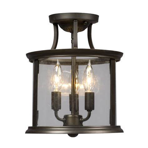 galaxy lighting 612302 huntington flush mount ceiling light lowe s canada shop galaxy huntington 10 in w rubbed bronze clear glass semi flush mount light at lowes
