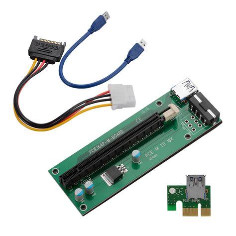 Pci E Usb 3 0 1 usb 3 0 pci e express 1x to16x extender riser card adapter sata power cable ebay