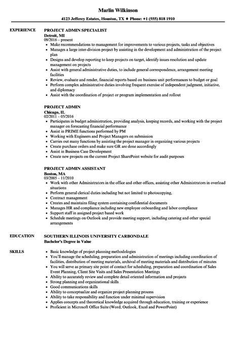Admin Resume by Project Admin Resume Sles Velvet