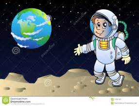 moonscape with cartoon astronaut royalty free stock photo