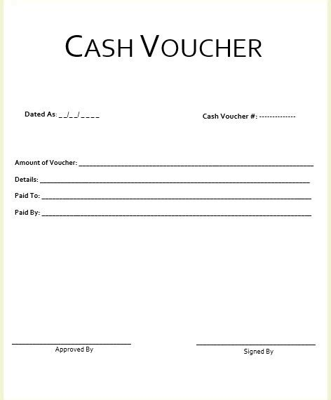 8 free sle cash voucher templates printable sles